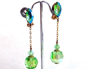 Vintage Lewis Segal California Green Crystal Dangle Clip-On Earrings - Long Dangly Signed Designer Costume Jewelry - Aurora Borealis
