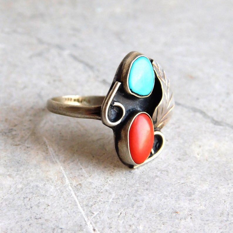 Vintage Navajo Sterling Silver Turquoise and Coral Ring w Feather Motif Artisan Made Native American Silver Jewelry Size 9-34