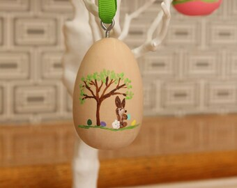 Khaki Hand Painted Wooden Easter Egg Ornament Ready to be Personalized
