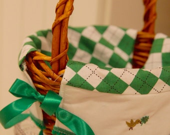 READY to be personalized Boy or Girl St Pats 9 inch medium brown basket four leaf clover argyle design