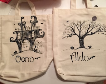 Custom Halloween Trick or Treat Tote Bag for Kids/Boy or girl Halloween Hand Painted Personalized