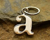 Sterling Silver, Letter quot a quot Typewriter Lowercase Charm, 925 Alphabet Charms, 1 PC, 16x8x1mm