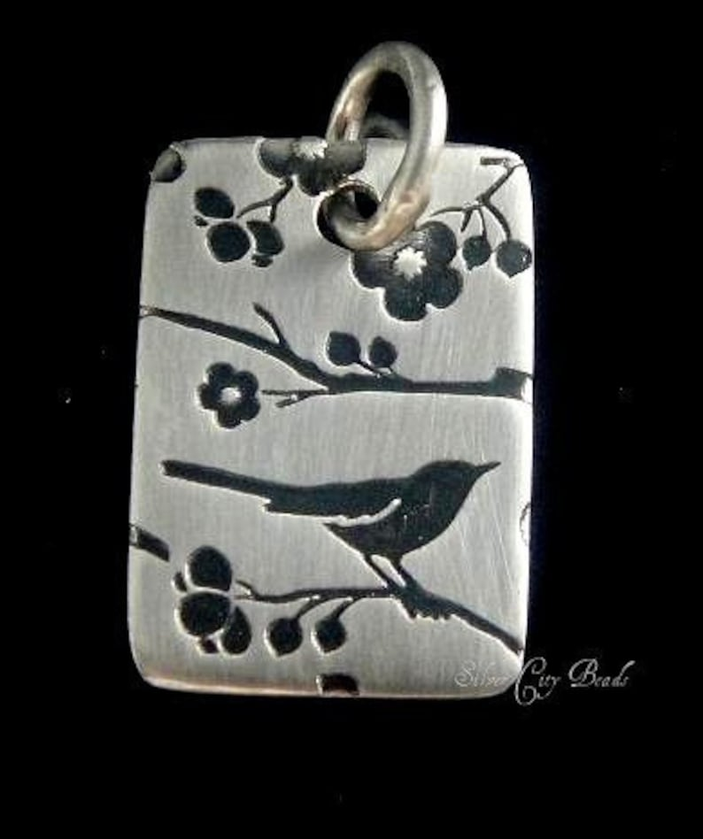 Sterling Silver Rectangle Printed Songbird Charm 12x18mm