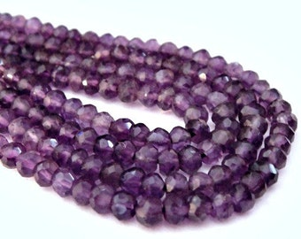 Amethyst Rondelles, Faceted Gemstone, Royality Feburary Birthstone, Wholesale, Brides 1 Strand-3-3.5mm