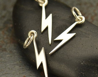Reserved- Silver Lightening Bolt Charm, 925 Sterling Celestial Pendant, 16.5x3.5mm, Select Your Quantity