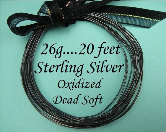 26g de calibre ga, 20 pi en fil rond en argent Sterling, oxydé Dead doux en pi vrac d34fbd