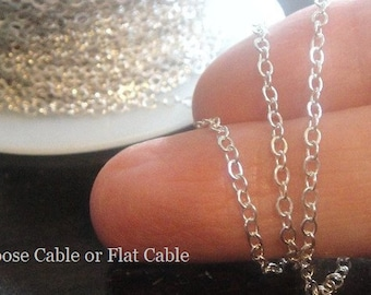 2x2.5mm STERLING SILVER Cable Chain or Flat cable Wire, Heavy Gauge, 23 Gauge Wire, Wholesale Chains, 1 - 100ft, Chain by the Foot. SC411