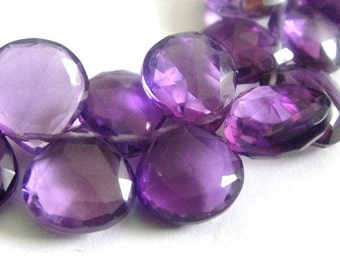 Amethyst Briolette, Heart Faceted Gemstone Beads, 2 MATCHED PAIRS, High Quality, Brides, Feburary Birthstone, 4 pcs, 10-12mm
