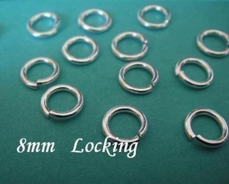 8mm Sterling Silver Locking Jump Rings 18 gauge,Open 50 Pcs