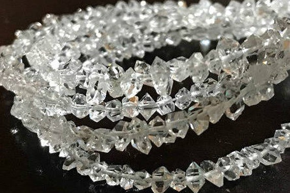 AAA Top Quality Herkimer Diamond Quartz 4-5mm Point Chips Nuggets Beads Bracelet
