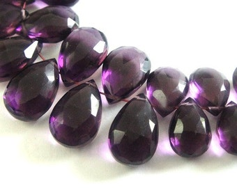Amethyst Pear Briolette,  Faceted Amethyst,  MATCHED PAIRS,  2 Pcs, High Quality, Brides, Feburary Birthstone, 10x6-11x7mm