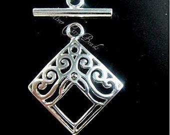 Sterling Silver Diamond Filigree Toggle Set,  26.5 x 21.5mm