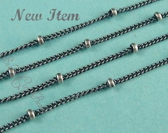 Sterling Silver Oxidized Satellite Chain WHOLESALE CHAIN -3 Ft-   -( chain 1mm, bead 1.9)