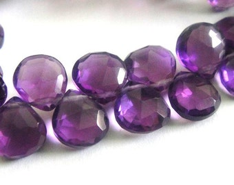 Amethyst Heart Briolette, AAA Faceted Amethyst, MATCHED PAIRS.   6 Pcs, High Quality, Brides,  Feburary Birthstone, 8-9mm