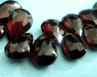 Garnet Pear Briolette, Red Wine Faceted Gemstone Beads, Janurary Birthstone, 4 PCS, FOCALS Wholesale Beads, Brides, High Quality 10-11mm