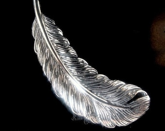 Sterling Silver Feather Charm Sterling Silver Pendant,  30 x 10 x 2mm