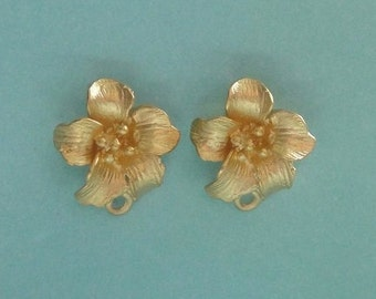 RESERVED..12 pr Gold Vermeil & 12 pr SS Flower Post Earrings with loop, Gold plated over 925 Sterling Silver, Wholesale Earrings, 14x13x5mm,