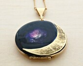 Vintage Locket Moon Crescent Moon Phases Necklace Jewelry Galaxy Lockets Antique Space Stars Planets Outer Space Custom Personalize Photos