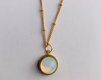 Moonstone Vintage Locket Glass Cabochon Lockets Mini Lockets Opals Vintage Jewelry Layering Necklaces Custom Personalize Photo Wedding