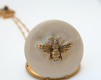Bee Bumblebee Locket Necklace Custom Photograph Quote Placement Enamel Brass Charm Personalized Jewelry Layer Gifts for Her Lockets Gift