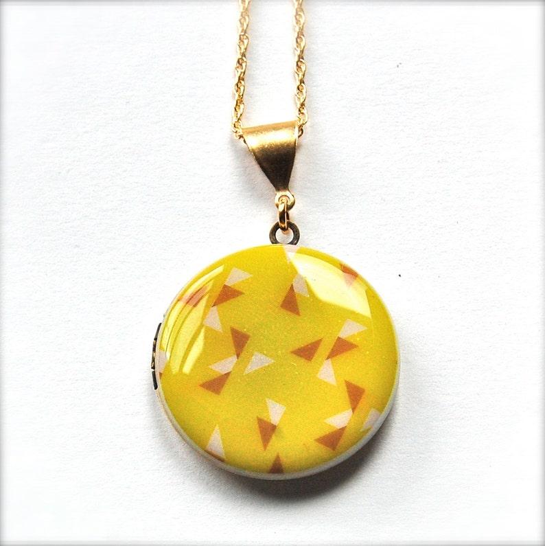 Art Locket Alyson Fox Necklaces Geometric Pattern Design Textile Original Artwork Yellow Triangles Custom Photograph Jewelry Picture