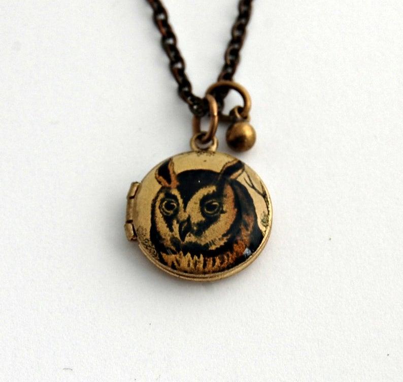 bad877def14b Buho relicario collar medallones Vintage collares buhos pájaro