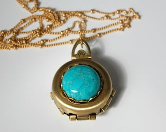 Turquoise Incredible Four-Way Locket Necklace Family Album Lockets Mourning Jewelry 4 Photograph Unique Gift Custom Personalize Healing Mom