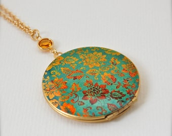 Vintage Locket Necklace with Turquoise and Gold Floral Wallpaper Print