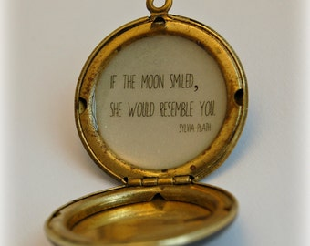 Vintage Moon Locket Necklace Quote Jewelry Sylvia Plath Quotes Space Stars Galaxy Unique Gift Custom Photo Jewellery If the Moon Smiled