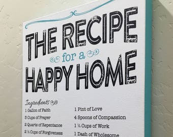 The Recipe for a Happy Home Kitchen Decor Canvas Wrap - Customizable