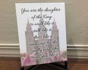 You are the Daughter of the King - LDS Salt Lake Temple Photo Canvas Wrap