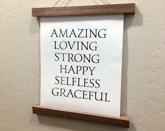 MOTHER - Amazing Loving Strong Happy Selfless Graceful - Rolled Canvas Sign - Wood Sign - Mother's Gift