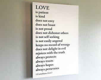 Love is Patient Love is Kind Scripture Canvas Wrap - Sign - Gallery Wrap - 1 Corinthians 13