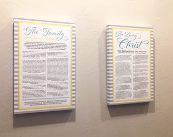 LDS Family Proclamation & The Living Christ Canvas Wrap - LDS Art - LDS Signs Art Decor