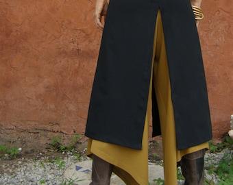 Convertible Skirt, Chic Split Skirt, Black Skirt, Layer Skirt, Long Skirt, Chaps, Boho Chic, Slits Skirt, Layered Clothes, Plus Size Skirts
