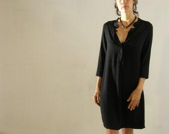 Women S Black Tunic Black Women Kaftan Oversized Shirt Etsy