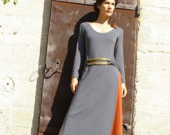 Womens Winter Dresses, Wrap Dress, Maxi Tunic Dress, Long Sleeves Dress, Tibetan Dress, Grey Dress, Slit Dress, Casual Dresses, Day Dresses