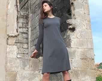 Melange Gray Loose Cotton Knee-Length Dress, Basic Knit Casual Crew Neck Conservative Dress, Long Sleeves Winter Dress, Women Everyday Wear