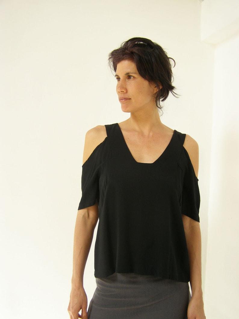 2a311823eb6da Open Shoulder Top Black Blouses For WomenLoose Fitting