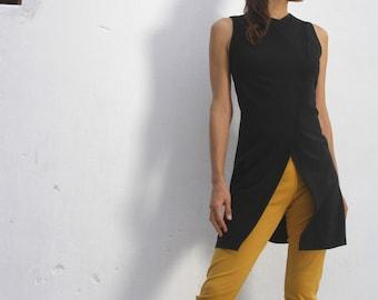 The Woman WARRIOR TUNIC - Black Womens Tunic, Asian style Vest, Jacket for Women, Womens vest, Office Fashion, Plus Size Women Wear