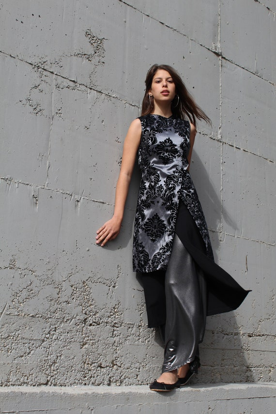 Chinese Style Maxi Dress Women Special Occasion Dress Tailored Black and Silver Evening Tunic Dress Mother of Groom or Bride Suit
