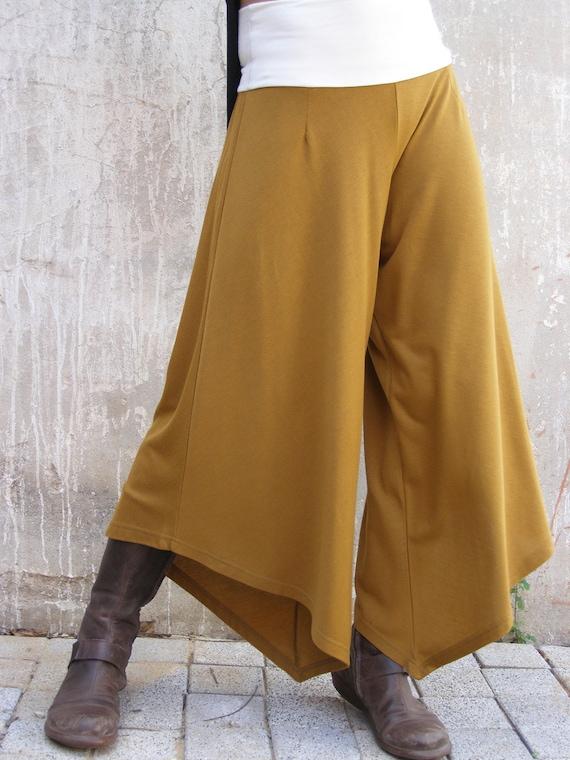 Mustard Maternity Palazzo Trousers Wide Leg Pants Summer Etsy