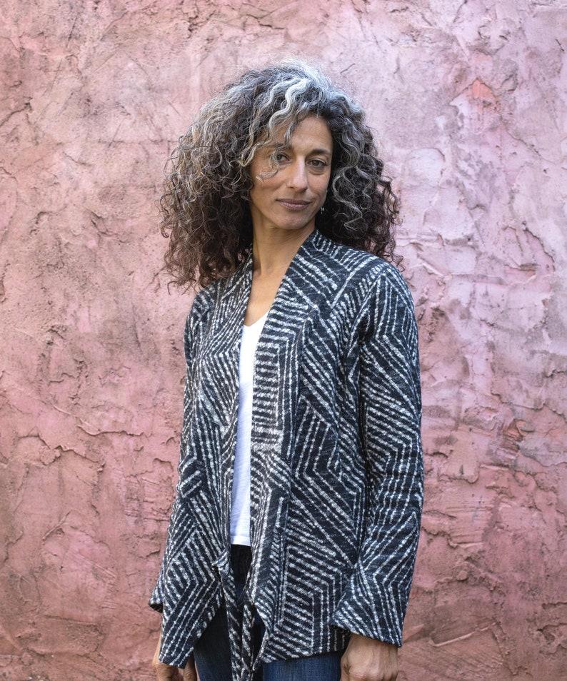 Women Boho Chic Geometric Knit Wrap Jacket Everyday Gray Winter Jacket