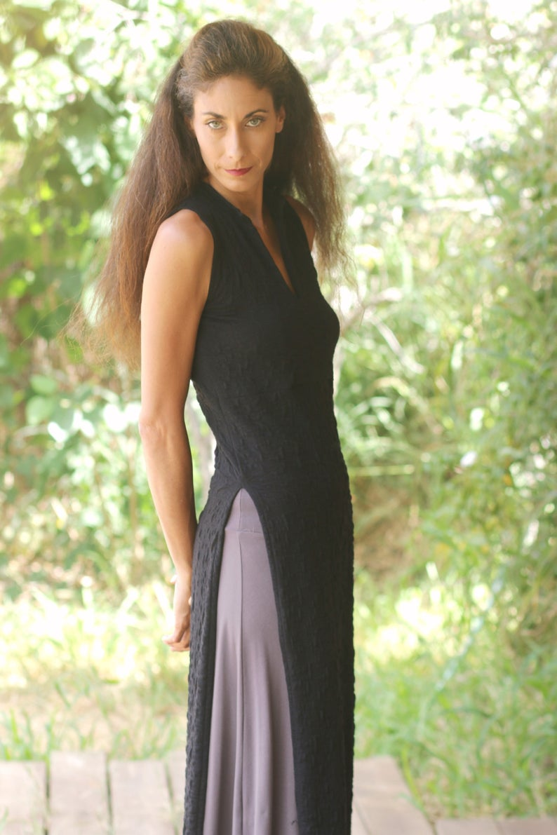 213475bbb13 Asian Maxi Dresses Womens Black Tunic Sleeveless Elegant