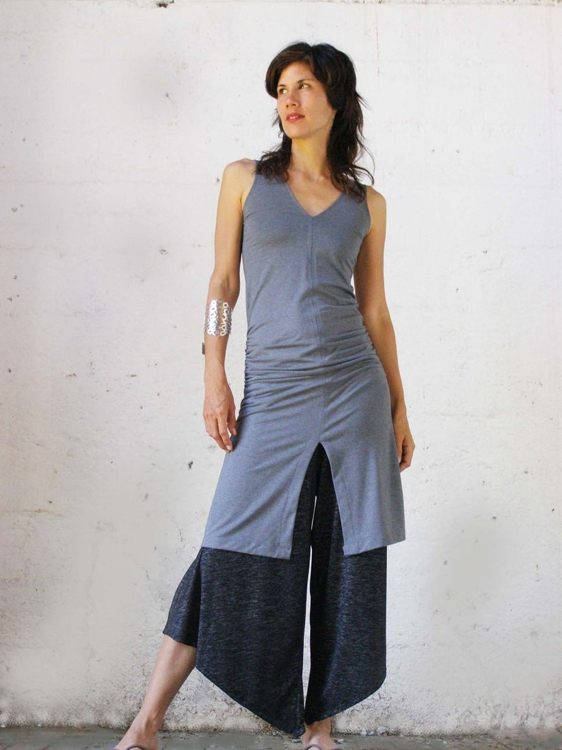 Grey Cotton Tunic Dress Sexy Summer Ruched Tunic Top Split image 0