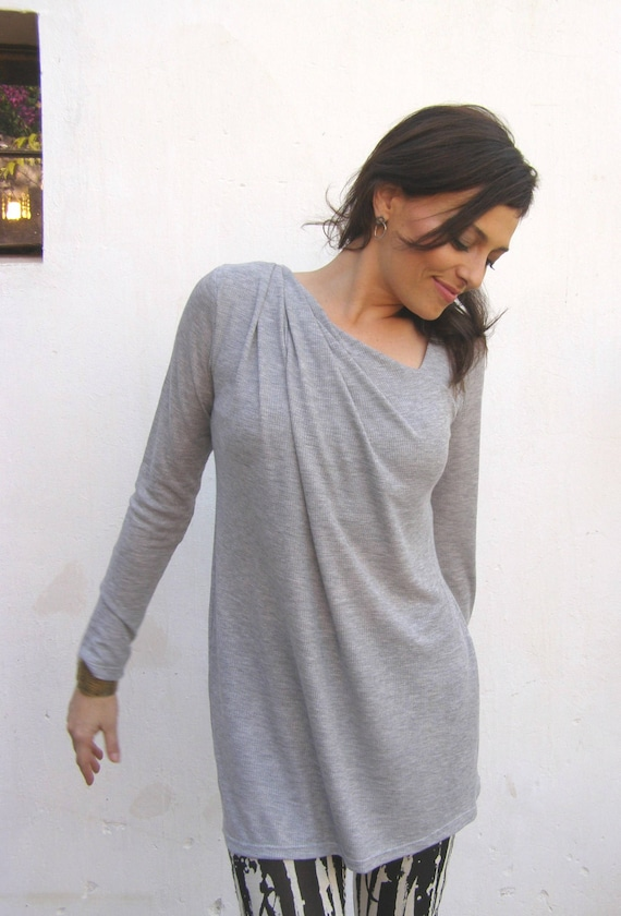 Long Women's Asymmetrical Cleavage Tunic Grey Sleeve Top Tunic With Line rxYOraBw