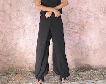 Unique black  Women's pants-Origami trousers/ 4 way pants-women's wrap pants-Wide pants- women's trousers