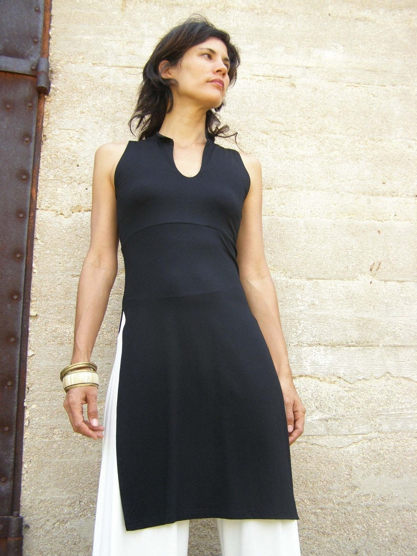 f6d3d1210cd Tunique femmes noir côté haut de la fente Tops tunique