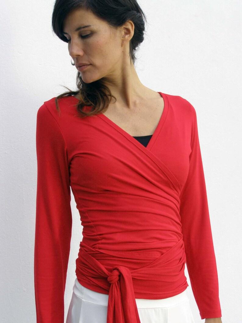 Chemisier rouge maternité porter Wrap Top chemises sport  237a420b563