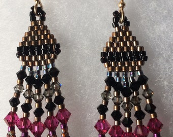 black woven with pink crystal earrings